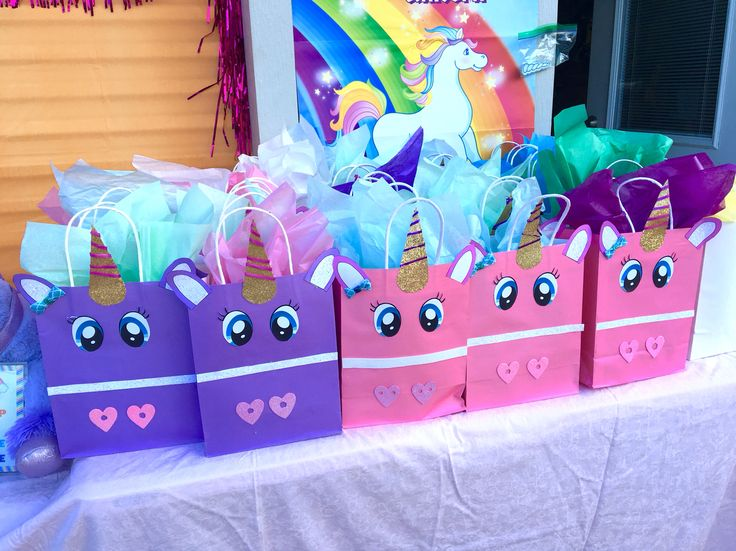 Camila's 5th unicorn birthday gift bags