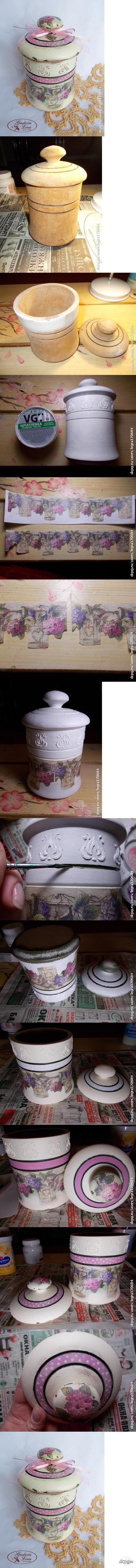 "Декупаж - Сайт любителей декупажа - DCPG.RU | Баночка ""Гортензия"" Click on photo to see more! Нажмите на фото чтобы увидеть больше! decoupage art craft handmade home decor DIY do it yourself tutorial"