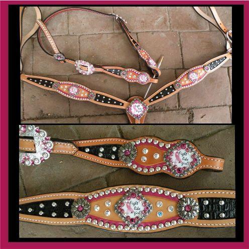 breast cancer- custom bling horse   tack set
