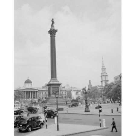 UK London Trafalgar Square with Nelsons Column and National Gallery Canvas Art - (24 x 36)