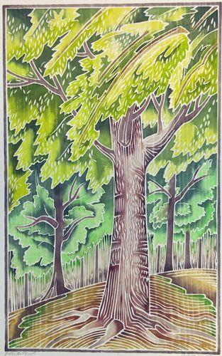 White line woodblock print (Contemporary Printmaking, Woodblock, Landscape)