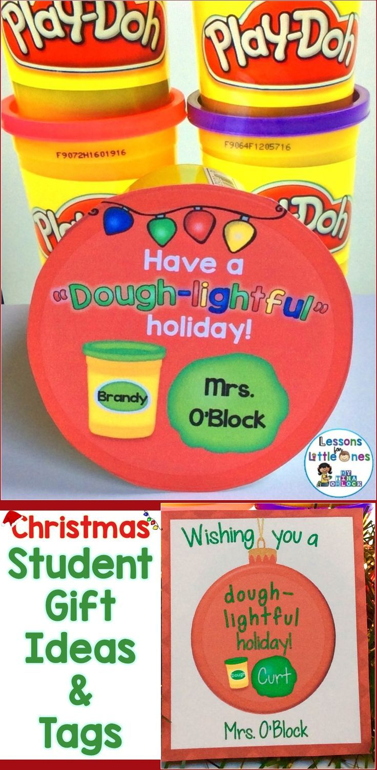 Christmas student gift ideas with gift tags that won't break the bank.  Student tag ideas for Christmas gifts such as playdough, books. & more.