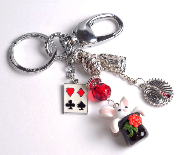 Alice in Wonderland Keychain and Charms and bunny charms