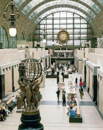 A view of the interior of the Museé d'Orsay, Paris, which was once a railway station.
