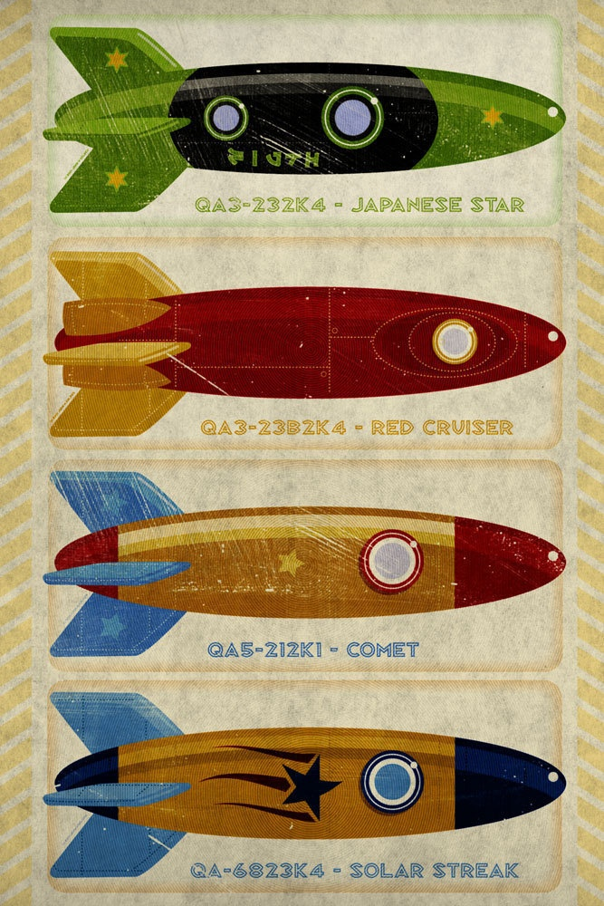 Retro Rockets Print 12 in x 18 in - Rocket Nursery Art Print - Art For Kids Room - Wall Art for Men - Tin Toy Rocket Art Print - Space Art. $60.00, via Etsy.