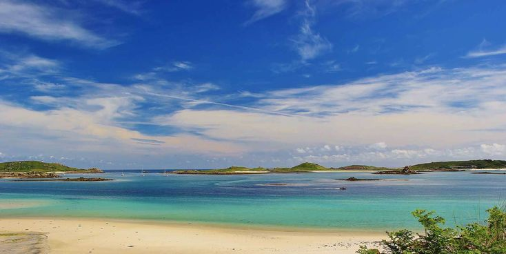 Isles of Scilly golden beach and blue skies