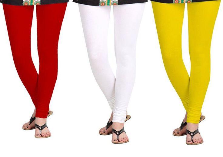 Women Chudidar Cotton Lycra Leggings Combo Pack Of 3 * Free Shipping*