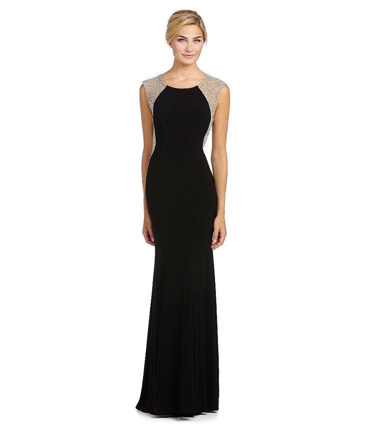Xscape Beaded-Back Gown Dillards Item #04167100
