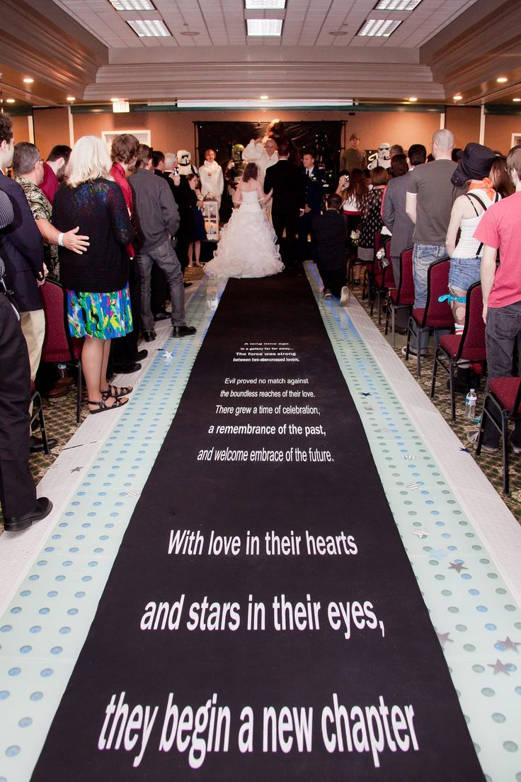 Scrolling Star Wars fabric NON-SLIP Runner by I Do! Aisle Runners. As seen in Bridal Guide Magazine.