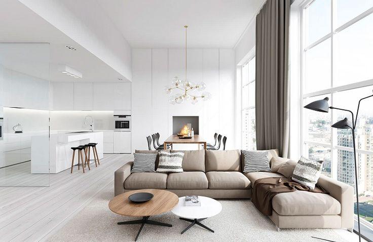 cucine moderne bianche e un'idea per l'open space