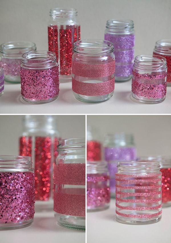 DIY Glitter Mason Jar-Check Out This Cool and Cheap DIY Mason Jar Decoration Ideas