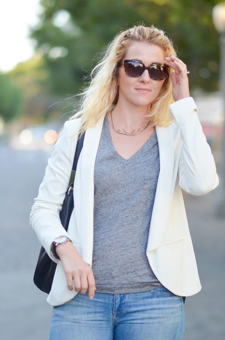 How to Dress Down Blazers | White Blazer Outfit w. Jeans | Prada Square Sunglasses Multicolor
