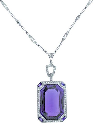 Art Deco amethyst and diamond pendant, 1930's.
