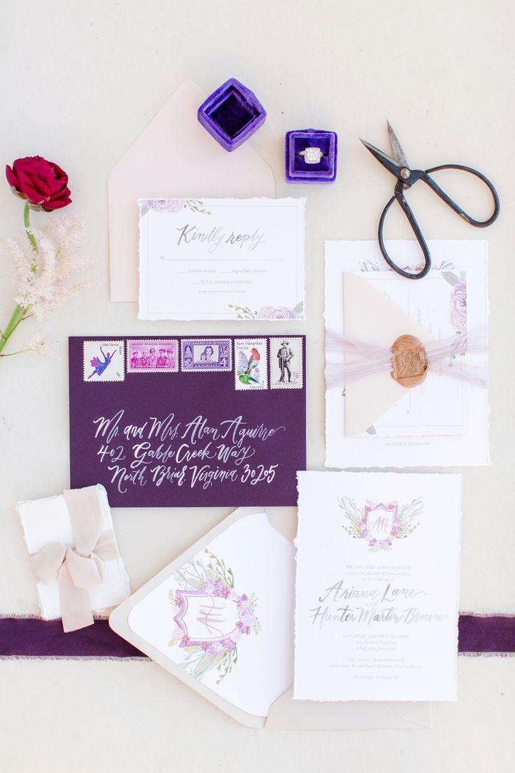 Elegante, romantische Blush & Plum Hochzeitsideen