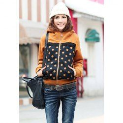 Casual Style High Collar Lace Splicing Polka Dot Long Sleeve Cotton Fleece Hoodie For Women