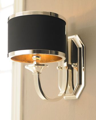 """""""Tuxedo"""" Sconce at Neiman Marcus. $192 to $150 Sleek silver and black make this quite the distinctive fixture. Crafted of silver-plated metal with a black hardback shade. Uses one 60-watt bulb. 7""""W x 10""""D x 12""""T. Mounting hardware is included. Imported"""