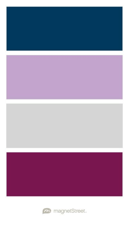 Navy, Lilac, Silver, and Sangria Wedding Color Palette - custom color palette created at MagnetStreet.com