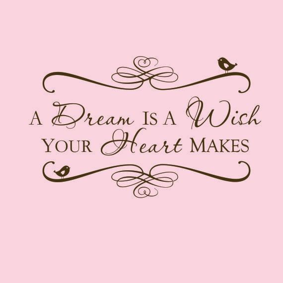 Disney vinyl decal: A dream is a wish your heart makes - Disney Quote - Custom