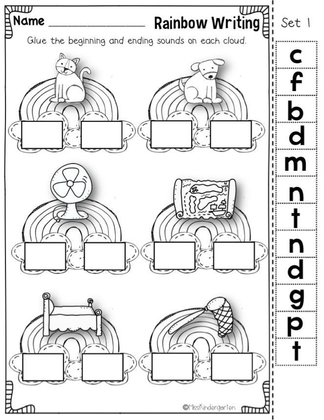 Miss Kindergarten: beginning and ending sounds practice