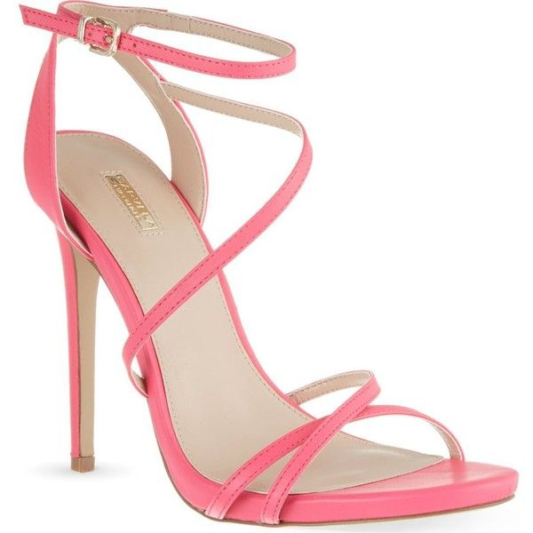 CARVELA Georgia neon leather stilettos ($120) found on Polyvore featuring shoes, pink, neon shoes, high heels stilettos, pink stilettos, open toe high heel shoes and neon high heel shoes