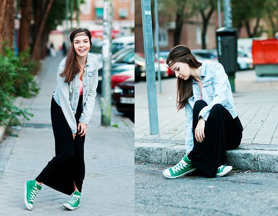 Maxi and Sneakers?  / No problem. / Converse Sneakers, Pull & Bear Jacket, Pull & Bear Maxi Skirt, H&M Hair Braid