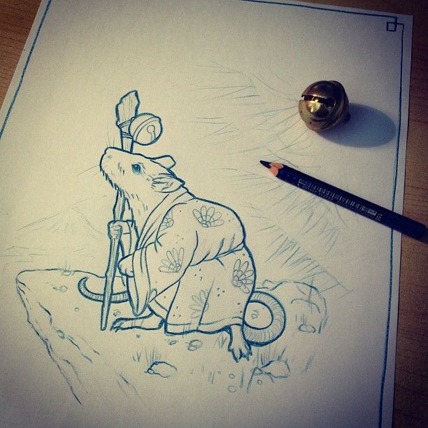Japanese Old Man Rat tattoo design/drawing by  Mr Curtis at tribalbodyart.co.uk