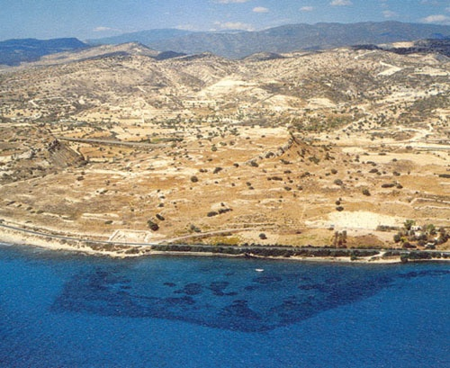 View of Amathus from sea.  The shadows in the water are of the ancient harbour now underwater.