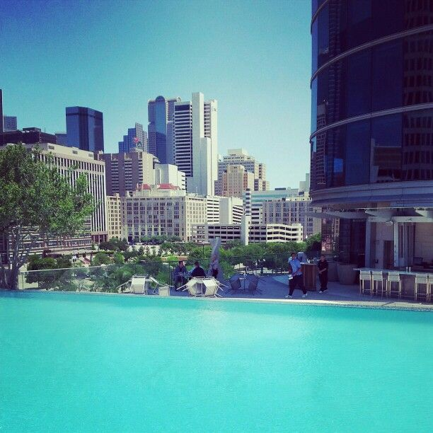 Pool area of the Omni Hotel in Dallas, Texas, USA
