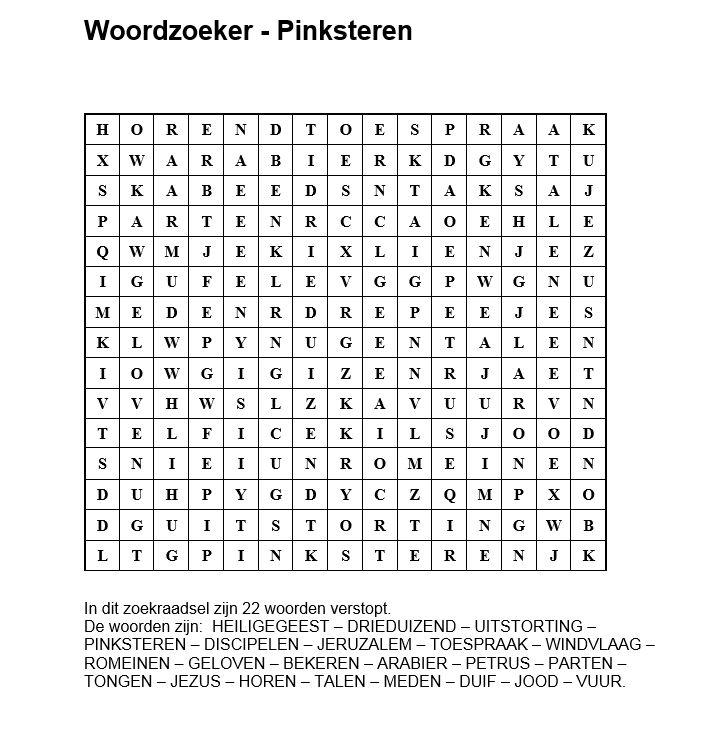 Woordzoeker Pinksteren Kerkboekje Nl Bijbel Puzzels