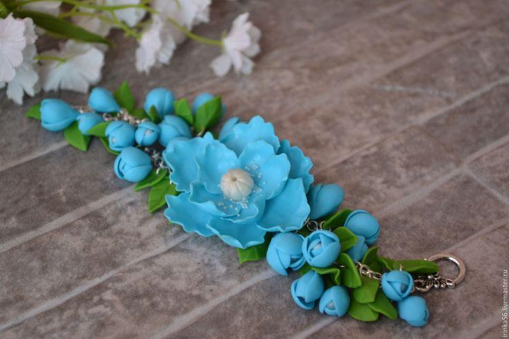 Купить Голубое облако.. - голубой, небесный, нежный, цветы, цветочное, голубой браслет, голубое