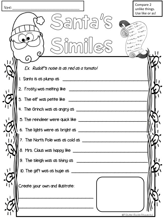 Santa S Similes Fifthgradeflock Com Teaching Christmas Simile
