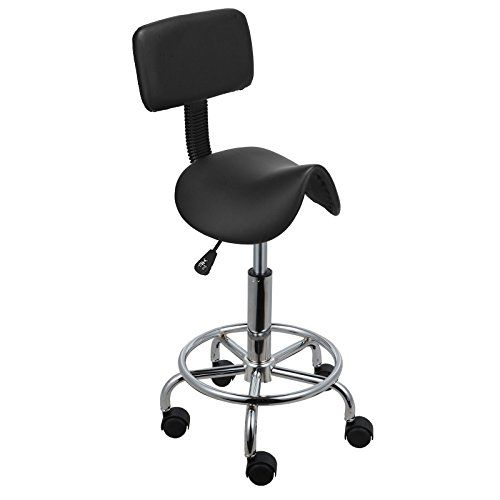 Voilamart Saddle Salon Massage Chair with Backrest Adjustable Swivel Hydraulic Gas Lift Ergonomic Stool for Hairdressing Manicure Tattoo Therapy Beauty Massage Spa Salon, Black---29.59---