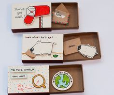 Inspired by the elements of greeting cards, gift boxes, and miniatures, these tiny cards are hand-crafted from real matchboxes and hand colored individually to give each of them that very personalized feel. But the best part has to do with the connection between the cover and the hidden message inside each box, which creates a sweet little surprise for the person who opens them.