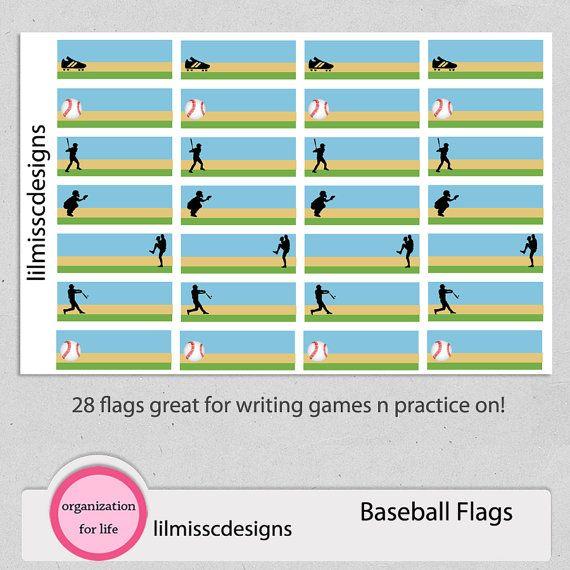 Erin Condren Baseball Flag Stickers for Planner, Plum Paper, Filofax, Calendar, Scrapbook! Softball and Baseball flags for Games & Practice