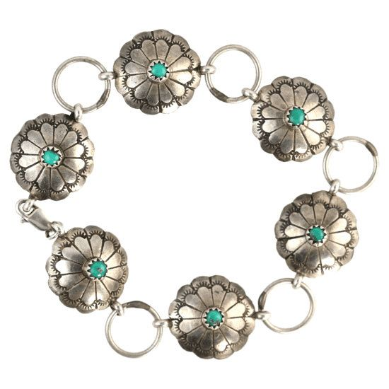 Silver & Turquoise Concho Bracelet