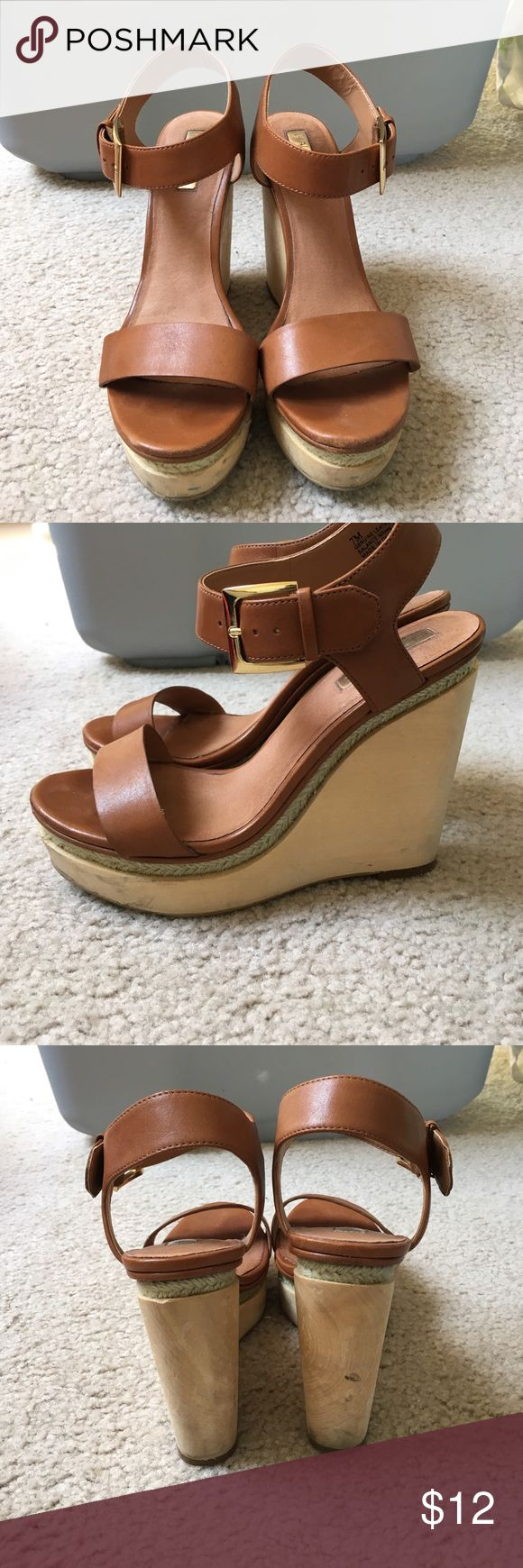 Halogen Strappy Wedge! Brown strappy heel with a wooden wedge and woven accents. Halogen Shoes Wedges