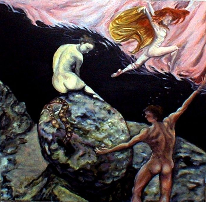 Adam and Eve - Different Story by ©Æ Sastrias 2006| Oil on canvas | Fantasy Nude | $550 | Bluethumb - Online Art Gallery