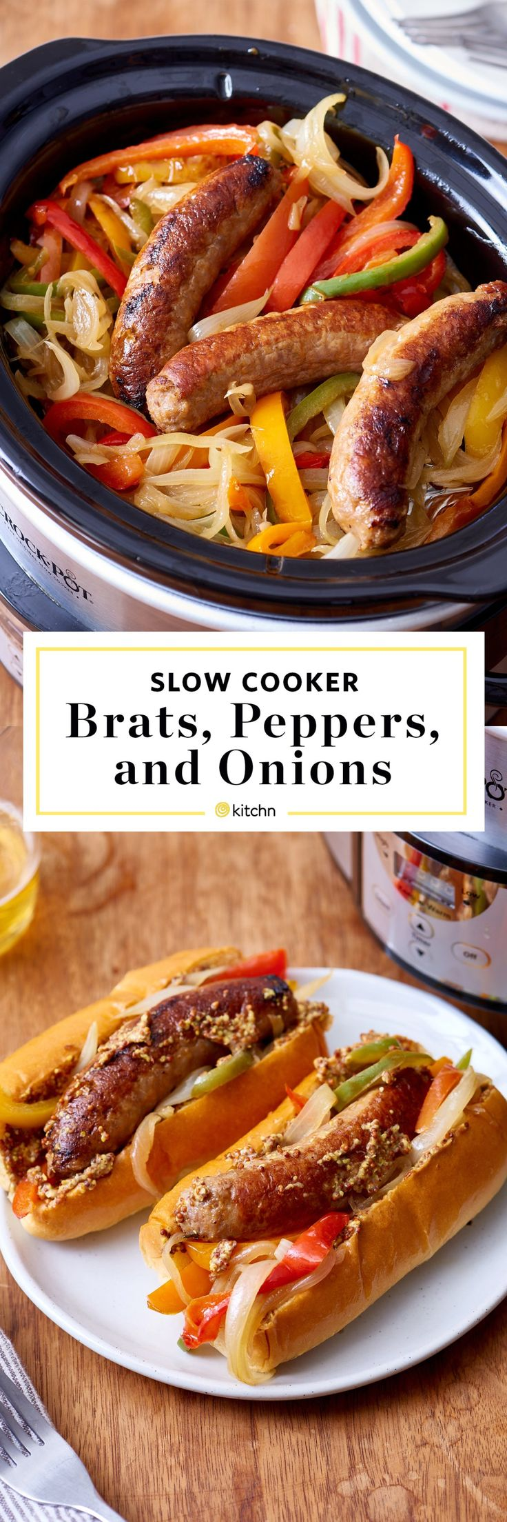 Slow cooked meals are a dream for cooks on a lazy weeknight. This slow-cooker sausage and peppers recipe with onions is a game-changer for lunch and dinner time. To make this quick and easy week night dinner, you'll need bell peppers, yellow onions, beer, whole grain mustard, freshly ground pepper uncooked Italian or bratwurst sausages and hot dog buns or sandwich rolls. You can also choose side it with mashed potatoes — you choose!