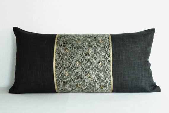 Lumbar Pillow Decorative Cushions For Girls Black Gold Cushion Etsy Grey Cushion Covers Black Throw Pillows Gold Pillow Covers