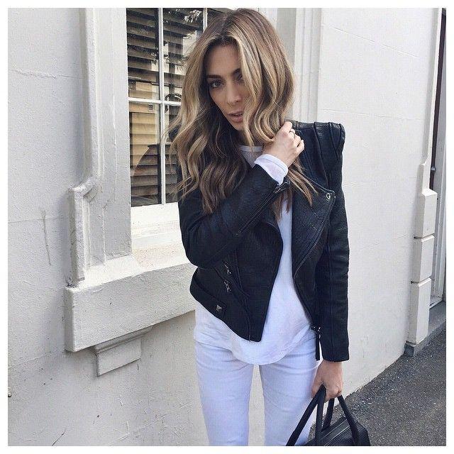 Nadia Bartel wears #seedheritage Collection Zipper Leather Jacket