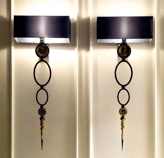 Black Wall Lamp Shades : Wall Sconces - Matching black wall sconces with black linen shades lamp Wall Pinterest ...