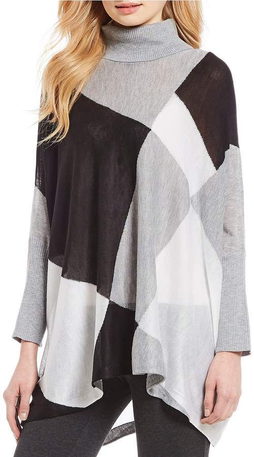 4caa1ee72a Calvin Klein Fine Gauge Knit Turtleneck Colorblock Poncho Top.  fashion   sweaters  ad