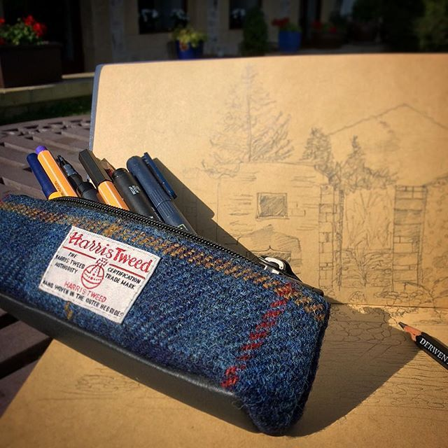 Holiday sketch time #harristweed #pencilcases #holidaysketch #spain