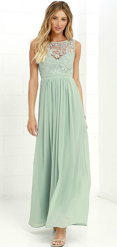 Sage green maxi dress | Love this sage green lace dress for a sage pale green bridesmaid dress | 'So Far Gown' dress from Lulus