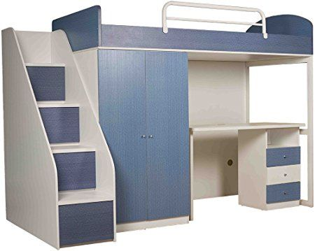 Child Space Space Saver Single Size Bed (Melamine Finish, Blue): Amazon.in: Home & Kitchen