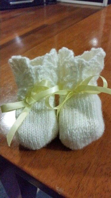 I made some booties for my cousin's baby.
