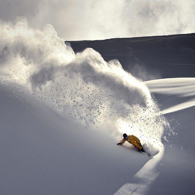 Beautiful spray. Stephan Maurer. #snowboarding