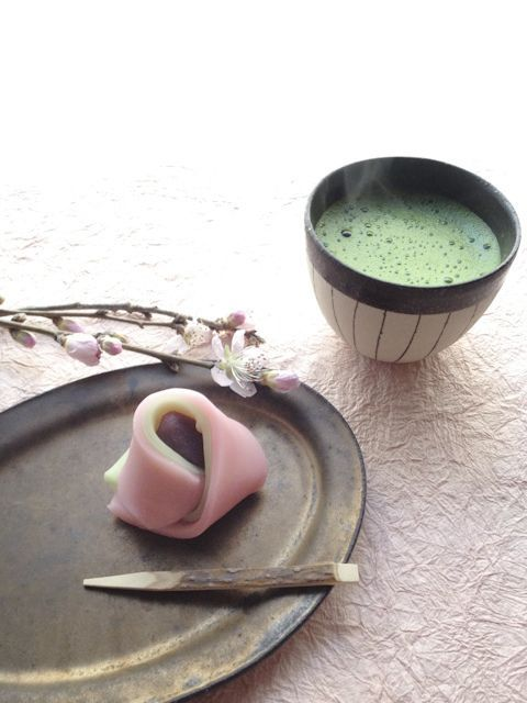 Japanese sweets and matcha green tea | Beautiful toned still-life photograph