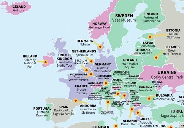 Questa mappa mostra un posto che devi vedere in ogni paese …