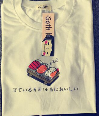 2015 summer new fashion Japanese sushi cartoon cute printed o-neck short sleeve women t-shirt free shipping